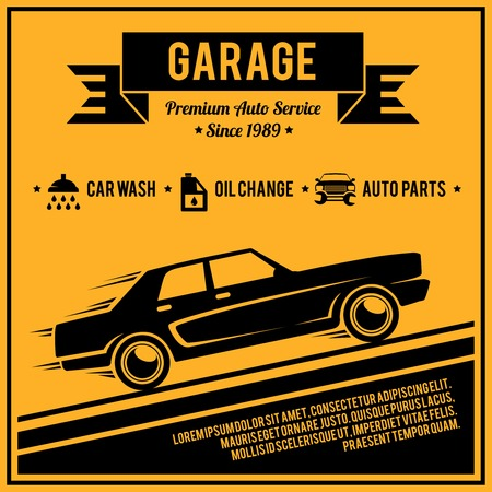 Auto mechanic service retro style car garage poster vector illustration. Vector