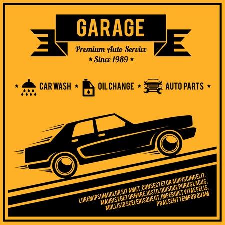 auto service: Auto mechanic service retro style car garage poster vector illustration.