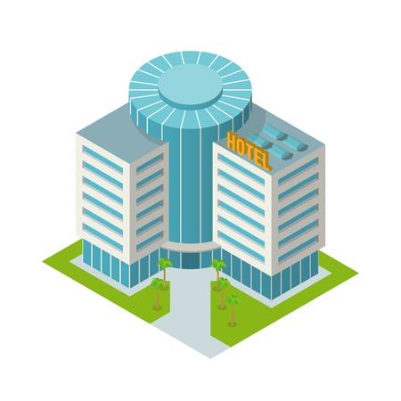 Edificio urbano moderno 3d de hotel con palmeras isométrico, ilustración vectorial
