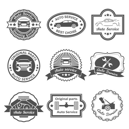 genuine good: Auto mechanic service black labels best choice quality goods set isolated vector illustration
