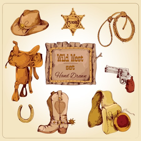 western saddle: Wild west cowboy colored hand drawn set with boots flask gun isolated vector illustration
