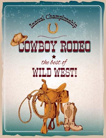rodeo americano: Mano de color vaquero del oeste salvaje del rodeo poster dibujado ilustración vectorial