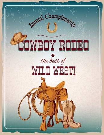 cowboy on horse: Wild west cowboy colored hand drawn rodeo poster vector illustration