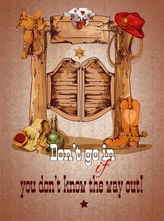 oeste: Cartel del oeste salvaje de la puerta del salón con la ilustración de las botas de vaquero sombrero silla vector