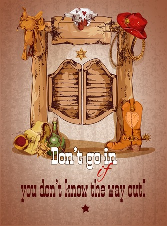 locandina arte: Wild west manifesto porta salone con illustrazione di stivali da cowboy hat sella vettore Vettoriali