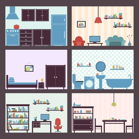 Interiors flat decorative icons set of furniture elements isolated vector illustration