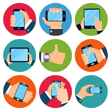 hand holding smart phone: Human hands set holding mobile phones and tablet devices isolated vector illustration