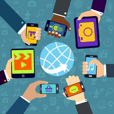 office use: Human hands set holding mobile phones and tablet devices using mobile services concept vector illustration Illustration
