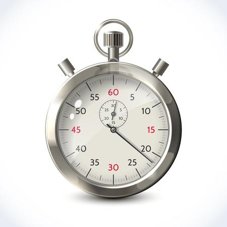 chronometer: Realistic metallic stopwatch sport chronometer isolated on white background vector illustration