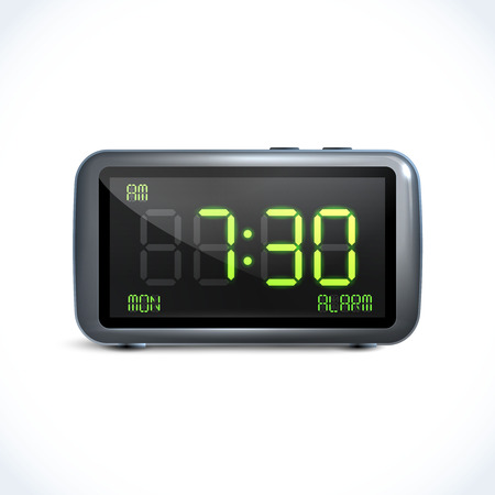 Realistic digital alarm clock with lcd display isolated vector illustration Stock Vector - 28494986