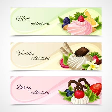 chocolate syrup: Decorative sweets food horizontal banners mint vanilla and berry collection vector illustration