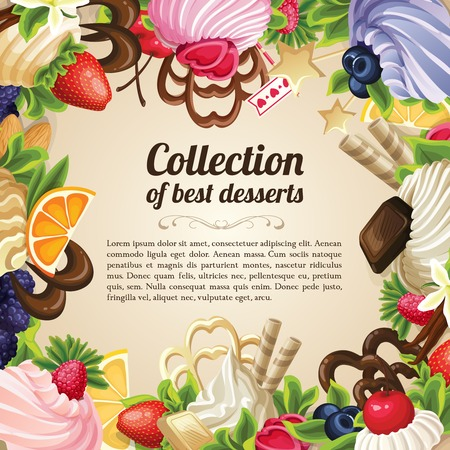 Sweets collection of best desserts food frame with chocolate berry and vanilla cream vector illustration Vector