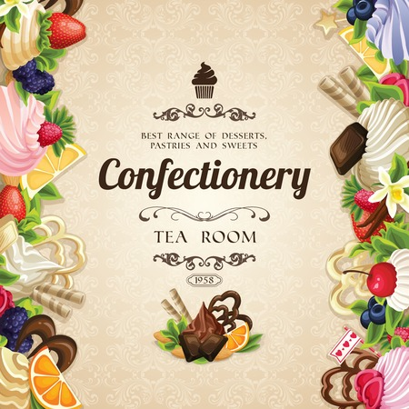 range fruit: Sweets desserts food confectionery tea room cover vector illustration Illustration