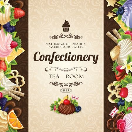 chocolate syrup: Sweets desserts food confectionery tea room cover decorative design vector illustration Illustration