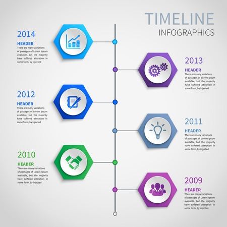 Abstract paper timeline infographics design template with hexagon buttons and business icons vector illustration Vector