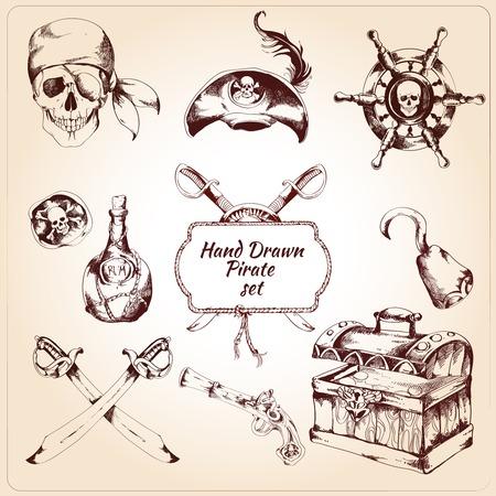 手描きの宝物胸ステアリング ホイールとラム酒ボトル分離ベクトル イラストの海賊装飾的なアイコンを設定  イラスト・ベクター素材
