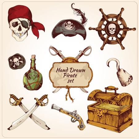Hand getekende gekleurde piraten decoratieve pictogrammen set van geïsoleerde pistool haak zwaard vectorillustratie
