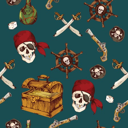 Hand drawn colored pirates seamless pattern with dices skull saber vector illustration Vector