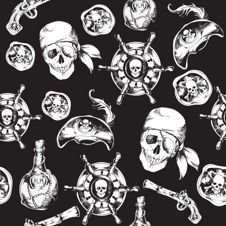 Hand drawn black and white pirates seamless pattern with hat rum bottle gun vector illustration Vector