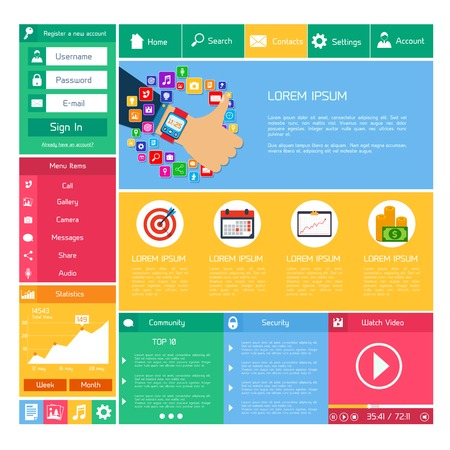 Flat website design template internet and applications layout elements vector illustration Vector