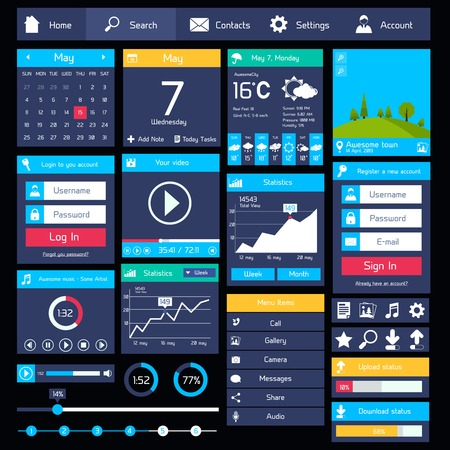 kit design: Flat user interface modern mobile design template with business applications vector illustration
