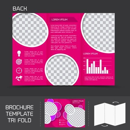 fold back: Pink business paper brochure leaflet tri-fold design back template with charts vector illustration