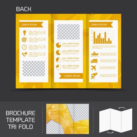 fold back: Yellow logistics paper brochure leaflet tri-fold design back template vector illustration Illustration