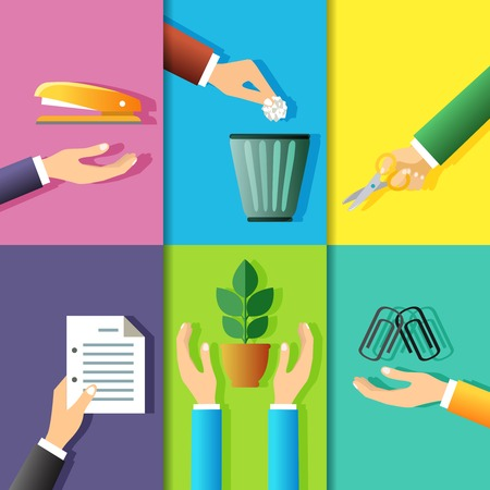 grapadora: Elementos de diseño de manos de negocios gestos de material de oficina y planta aislada ilustración vectorial