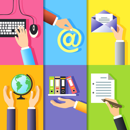 put the key: Business hands gestures design elements of computer keyboard mouse and signs isolated vector illustration Illustration