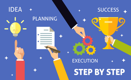 paper art projects: Successful business steps idea planning execution concept vector illustration