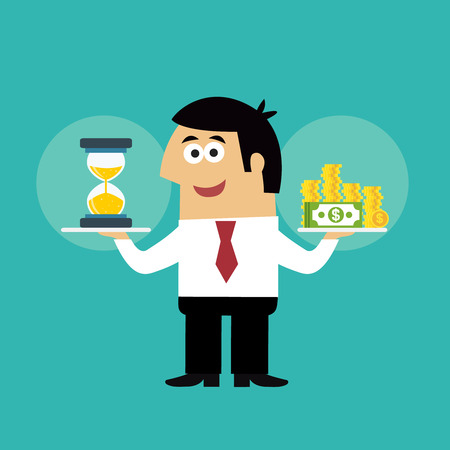 Business life employee with hourglass and coins in time is money concept vector illustration Vector