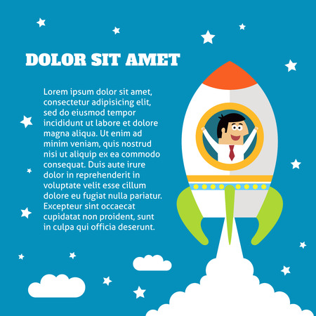 happy employees: Business life employee in rocket success and growth concept vector illustration