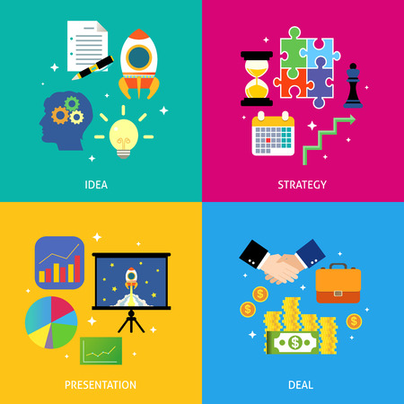 business deal: Successful business steps idea strategy presentation deal flat icons set vector illustration