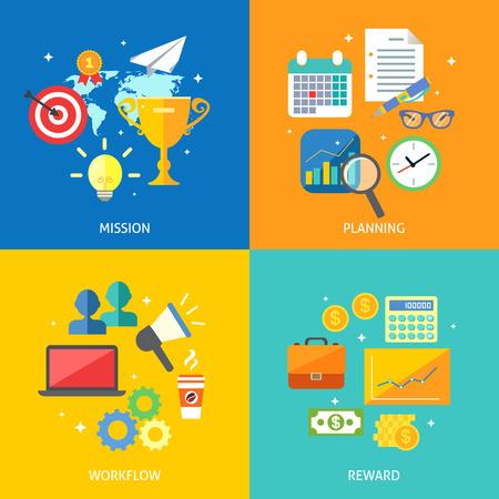 reward: Business process concept mission planning workflow reward icons set vector illustration