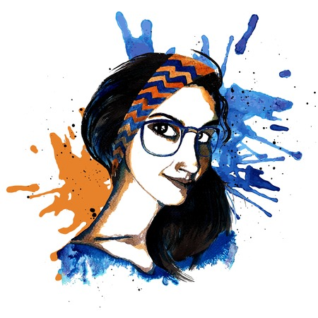 hairband: Smiling hipster character girl with glasses and headband ink drawn vector illustration