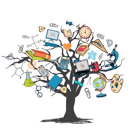 knowledge concept: School education elements icons set in tree knowledge concept vector illustration