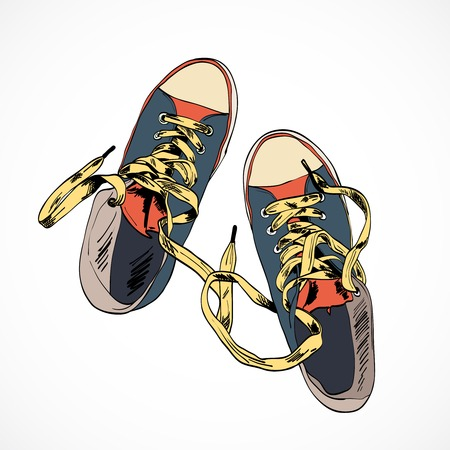Colored funky gumshoes fashion sneakers isolated on white background vector illustration Vetores