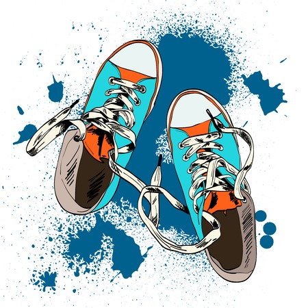rap: Colored funky gumshoes fashion sneakers grunge style with ink splash background vector illustration.