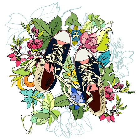 Colored funky teenagers gumshoes with flower background vector illustration Vector