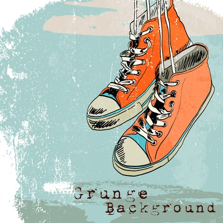 shoelaces: Colored funky hanging gumshoes skateboard fashion sneakers grunge style background vector illustration