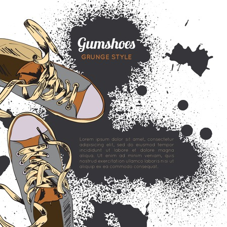 Colored funky gumshoes casual footwear grunge style with ink splash background vector illustration Illustration