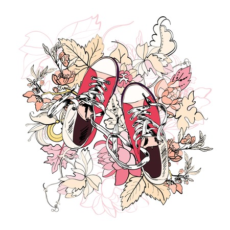 Pink casual canvas skateboard gumshoes with flower background vector illustration