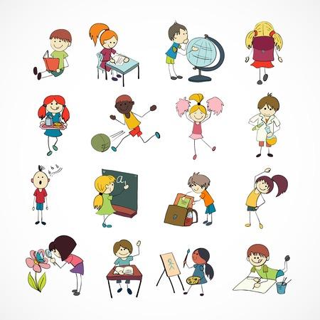 Décoratif chant d'apprentissage de la lecture et de la lecture des enfants de l'école de football avec le croquis vecteur sac à dos de griffonnage illustration Banque d'images - 28799161