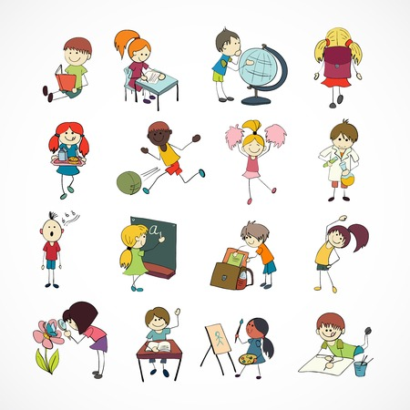 schoolbag: Decorative reading learning singing and playing football school children with backpack doodle sketch vector illustration