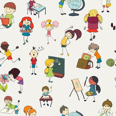 School girls and boys studying chemistry botany and gym activities colorful doodle sketch seamless pattern vector illustration Vector