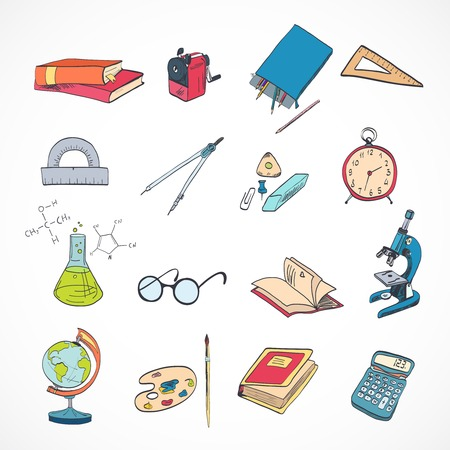 School education elements icons set with microscope drawing compasses stationery isolated vector illustration Vector