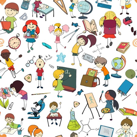 scholar: Kids drawing and writing formulas on chalkboard with school accessories background seamless doodle sketch pattern vector illustration