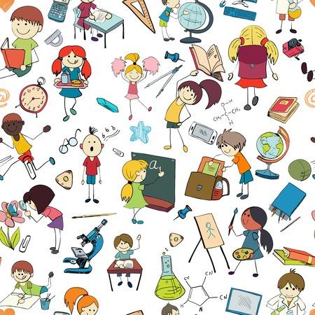 niños escribiendo: Los niños de dibujo y escritura de fórmulas en la pizarra con accesorios de la escuela ilustración de fondo de dibujo del doodle seamless