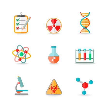 laboratory equipment: Scientific chemistry laboratory equipment of retort glass atom dna symbols icons set isolated vector illustration