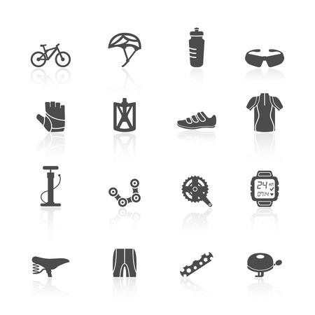 bicicleta vector: Iconos planos bici bicicleta deporte aptitud establecidas con ropa de cascos de botellas de agua, ilustración vectorial